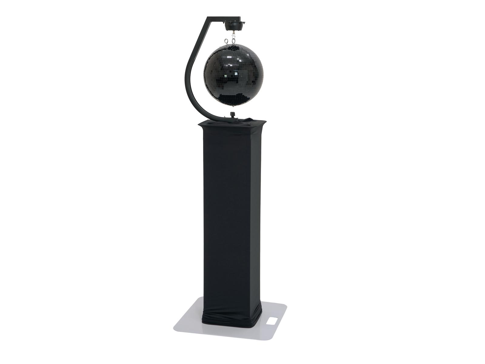 EUROLITE Set Spiegelkugel 30cm schwarz mit Stage Stand variabel + Cover schwarz
