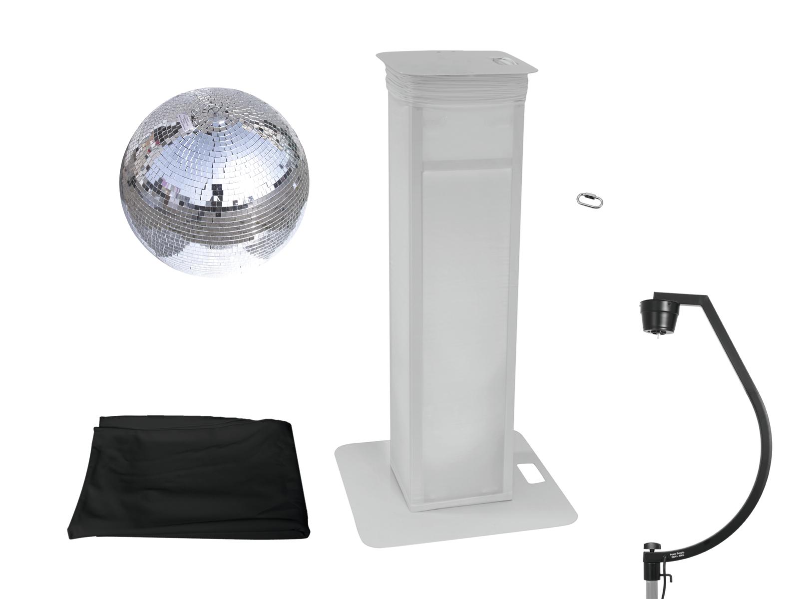 EUROLITE Set Spiegelkugel 50cm mit Stage Stand variabel + Cover schwarz