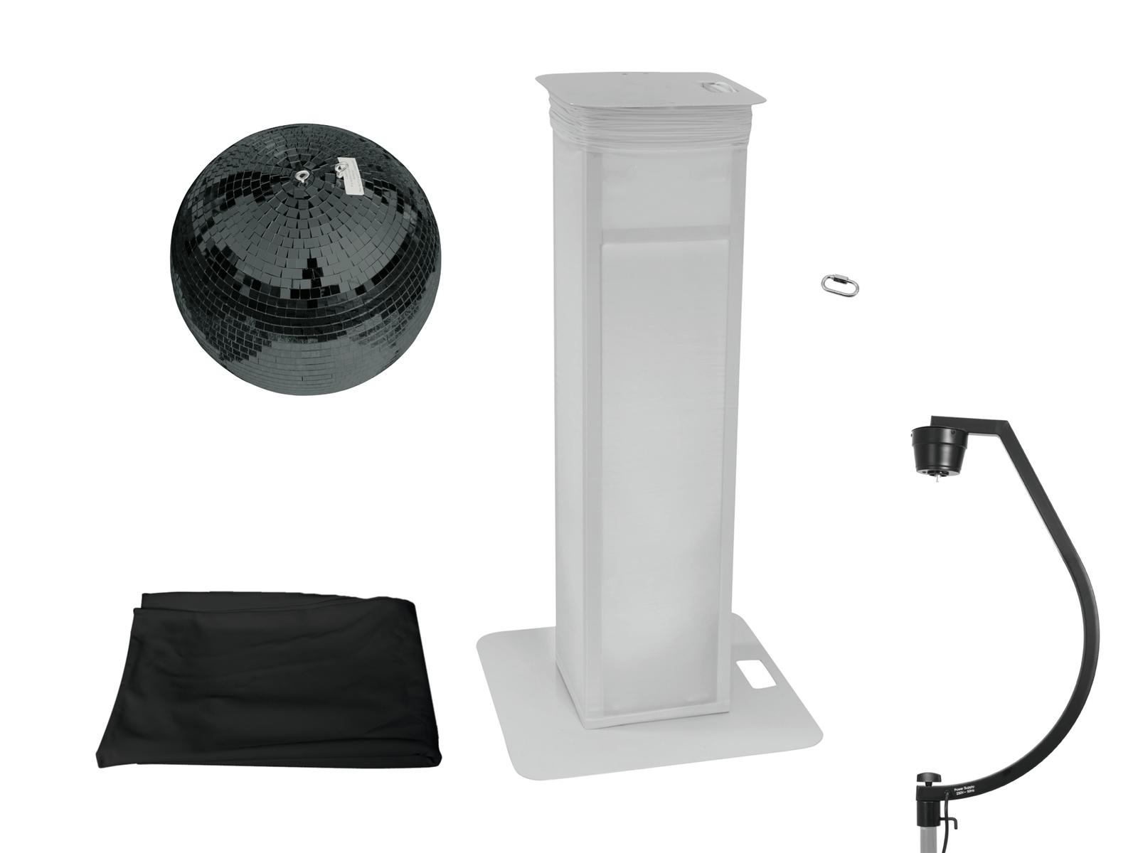 EUROLITE Set Spiegelkugel 50cm schwarz mit Stage Stand variabel + Cover schwarz