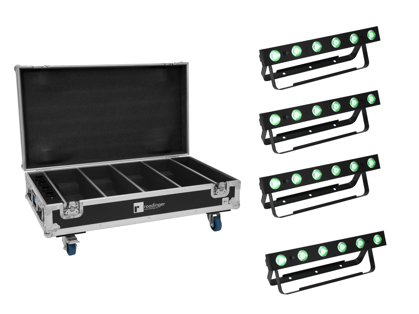 EUROLITE Set 4x AKKU Bar-6 QCL + Flightcase mit Ladefunktion