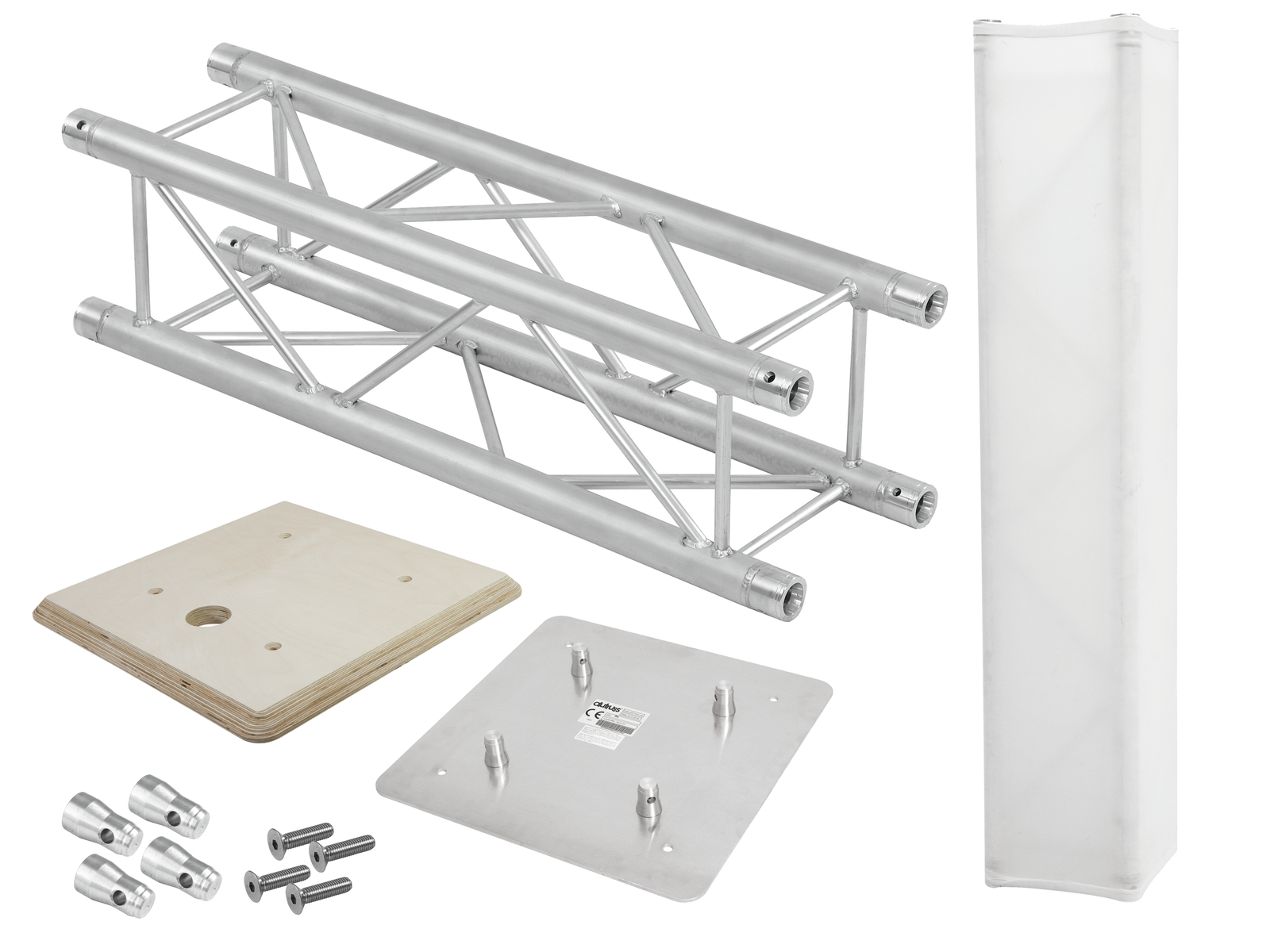 ALUTRUSS Set QUADLOCK Traversensteher 100cm + Holzplatte