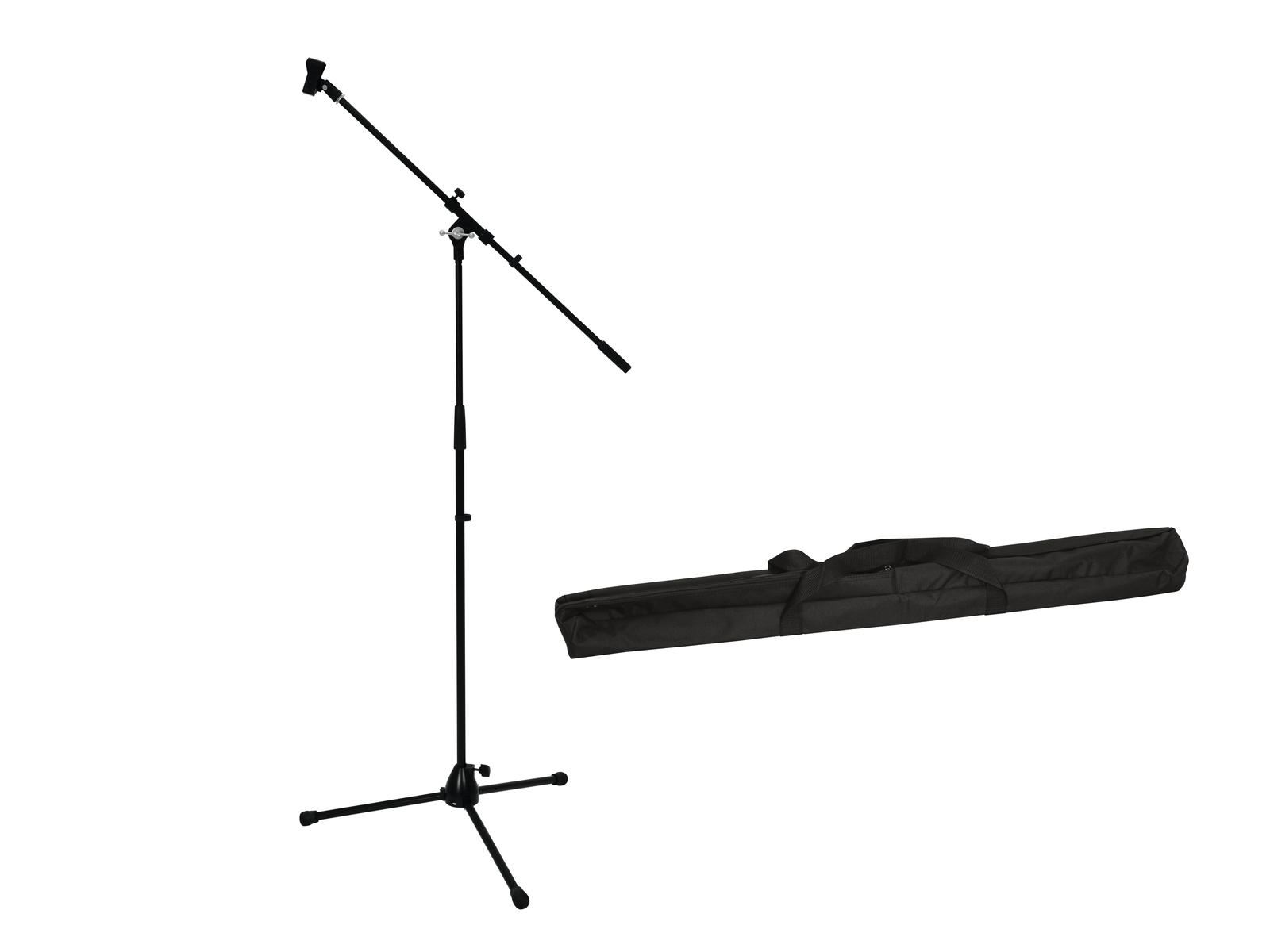 OMNITRONIC Set Mikrofonstativ mit Galgen PRO schwarz + Tasche