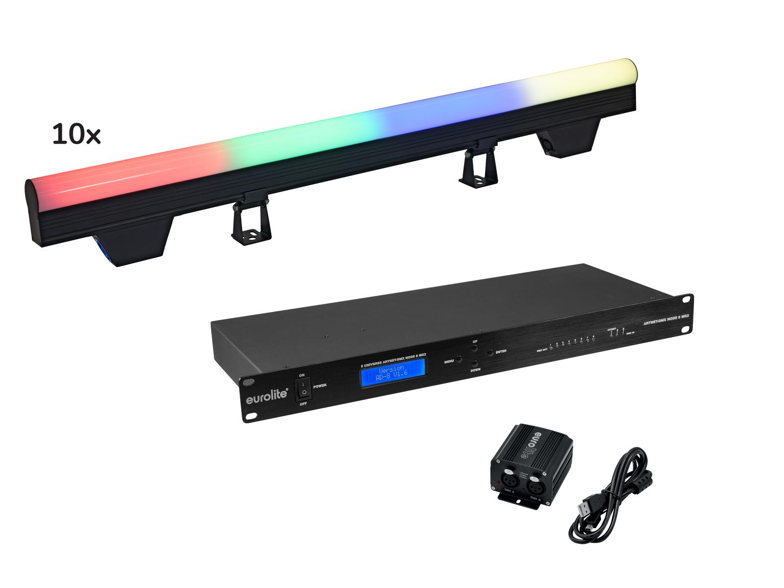 EUROLITE Set 10x LED PT-100/32 Pixel DMX Tube + DMX Software