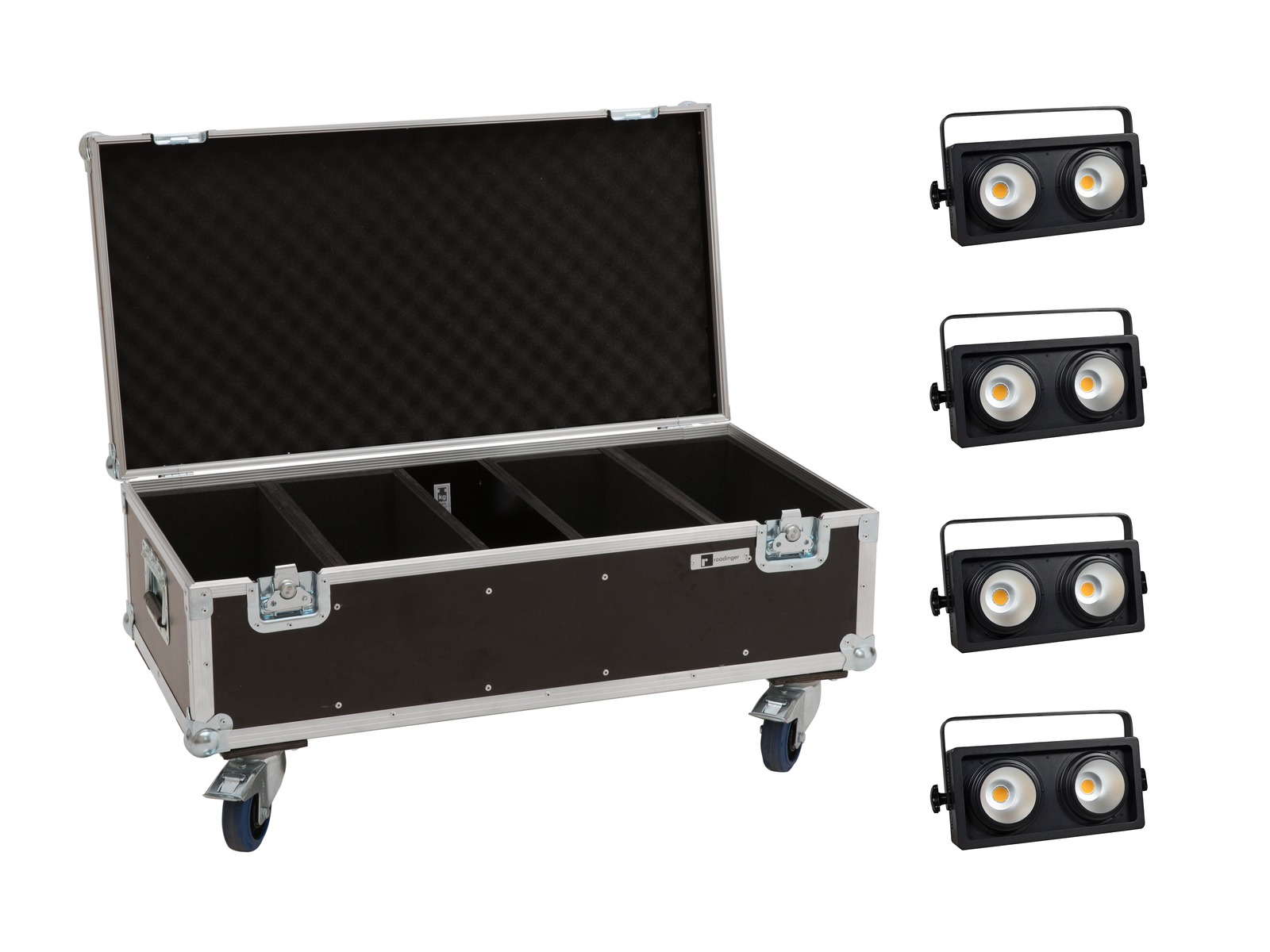 EUROLITE Set 4x Audience Blinder 2x100W LED COB WW + Case
