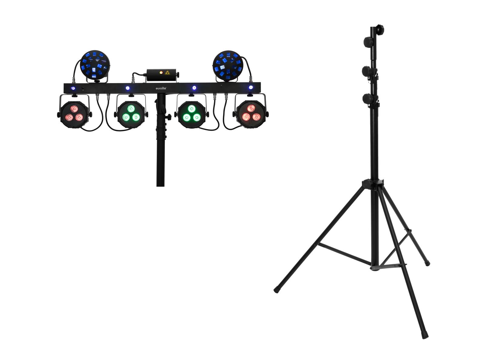 EUROLITE Set LED KLS Laser Bar Next FX-Lichtset + STV-60-WOT EU Stahlstativ schwarz