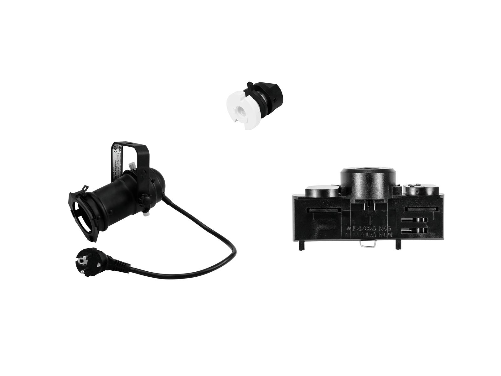 EUROLITE Set DIY PAR-16 Spot GU-10 + Stromschienenadapter, 3-phasig, schwarz
