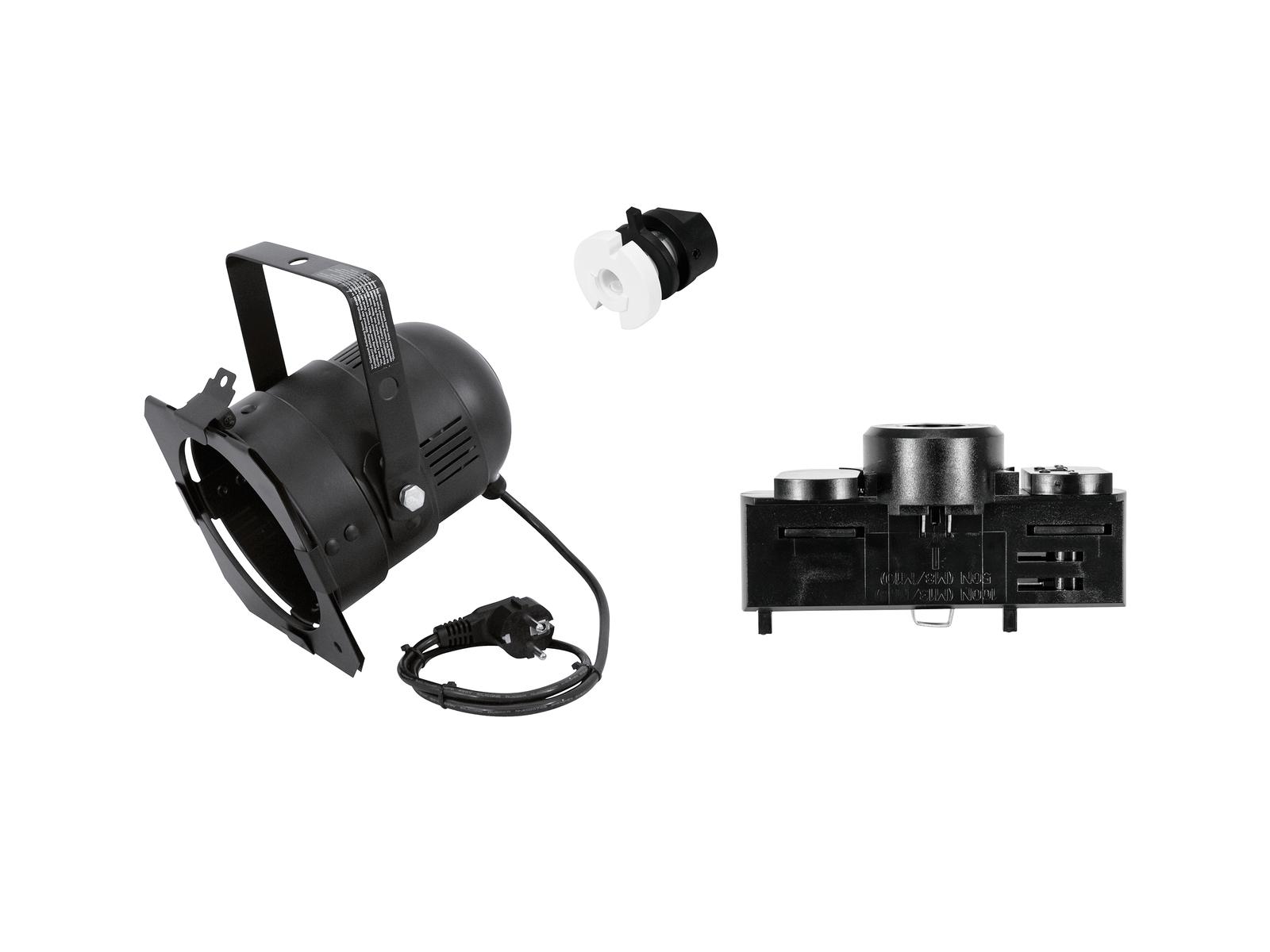 EUROLITE Set DIY PAR-38 Spot + Stromschienenadapter, 3-phasig, schwarz