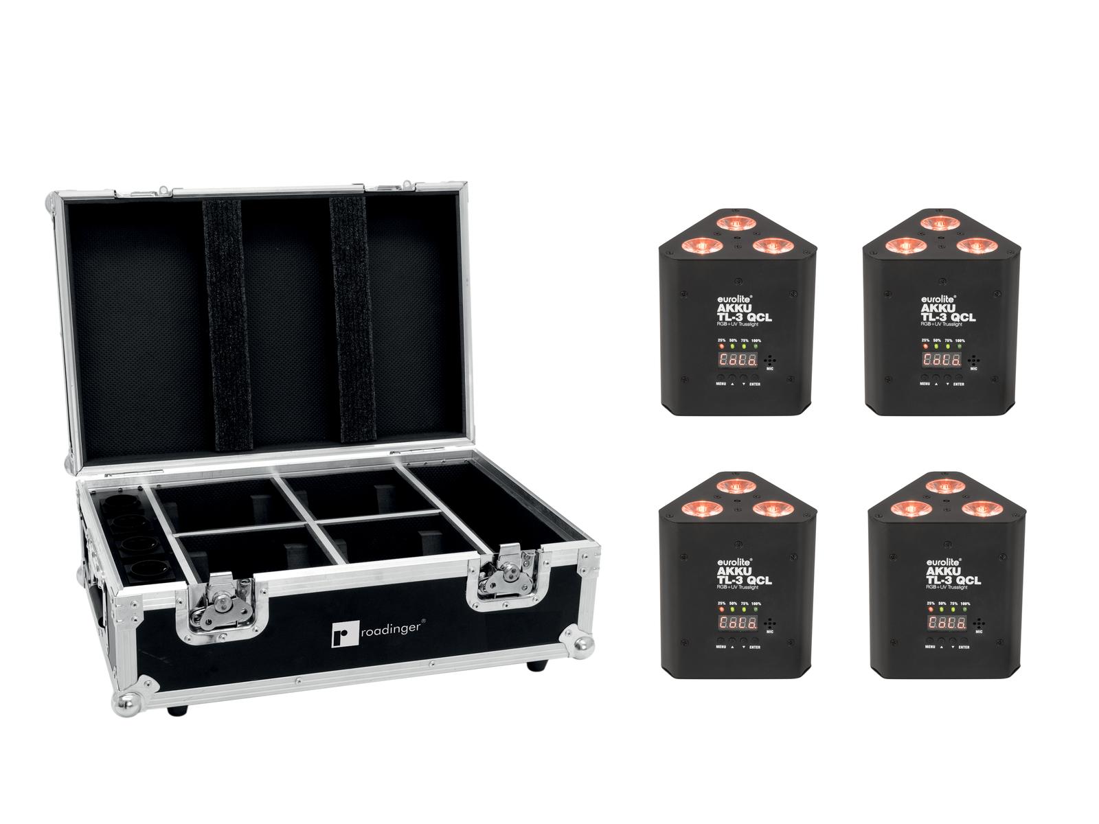 EUROLITE Set 4x AKKU TL-3 QCL RGB+UV Trusslight + Case mit Ladefunktion