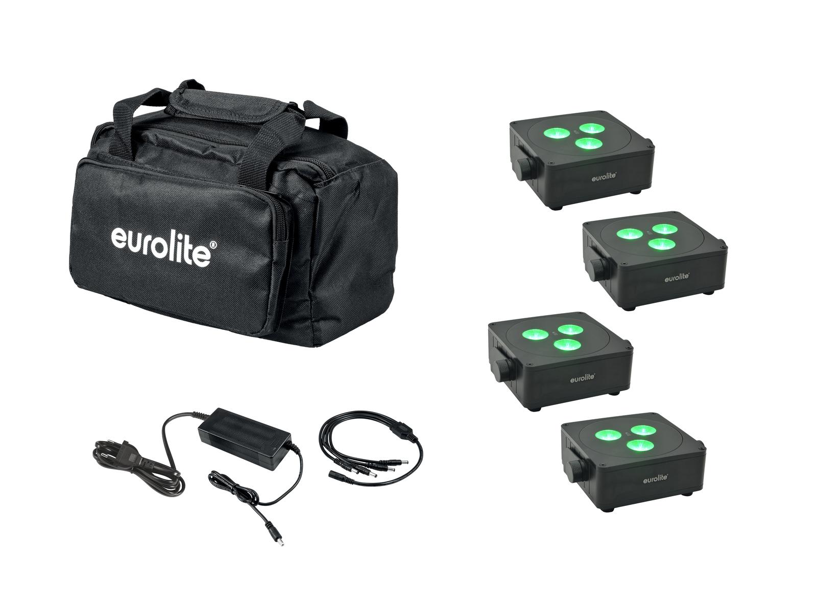 EUROLITE Set 4x AKKU IP Flat Light 3 sw + Ladenetzteil + Soft-Bag