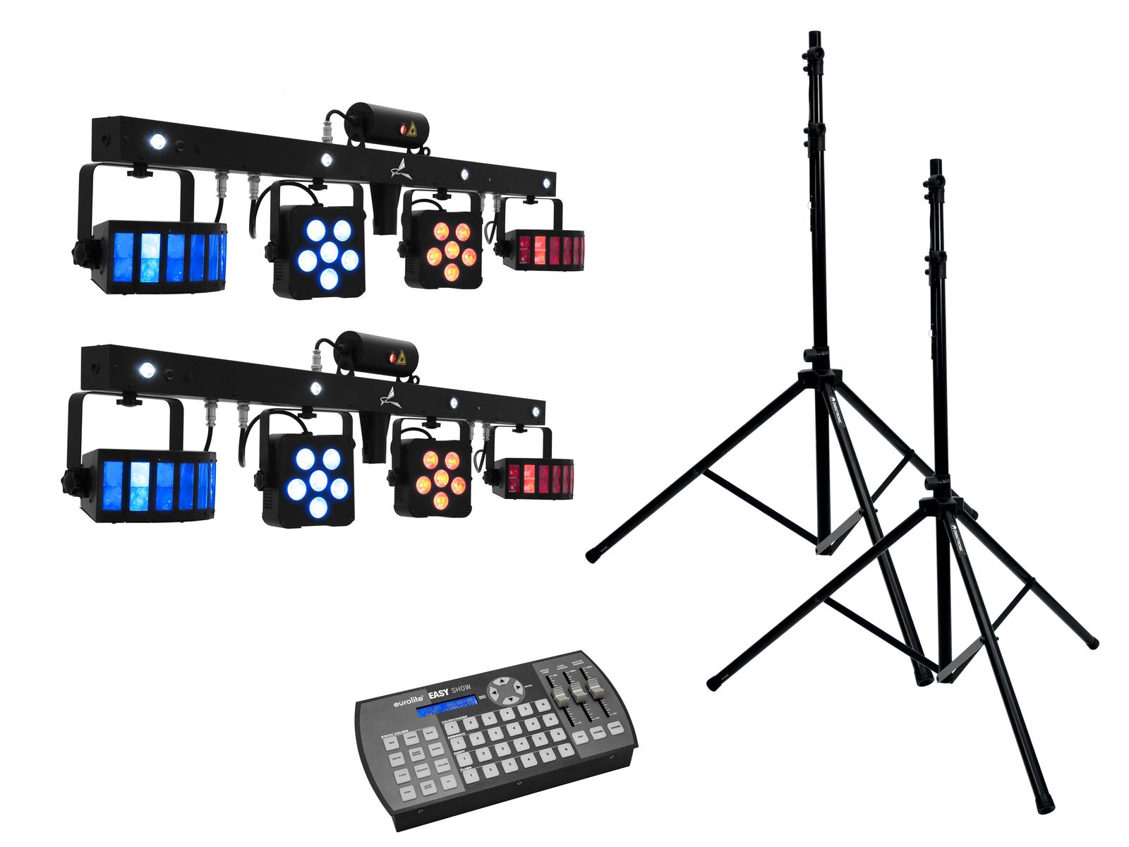 EUROLITE Set 2x LED KLS Laser Bar PRO + Easy Show + 2x M-4 Boxenhochständer