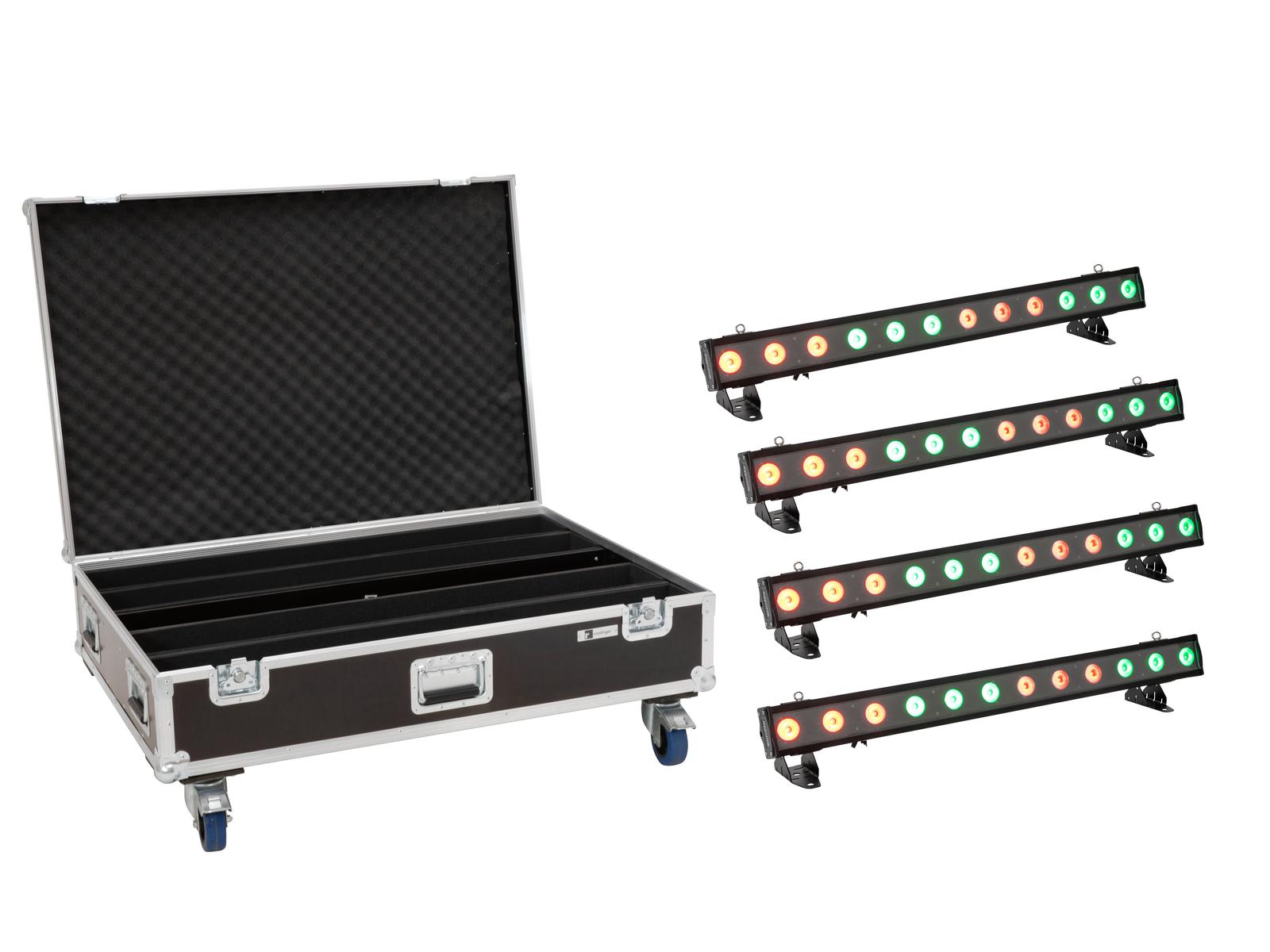 EUROLITE Set 4x LED IP T-PIX 12 HCL Leiste + Case mit Rollen