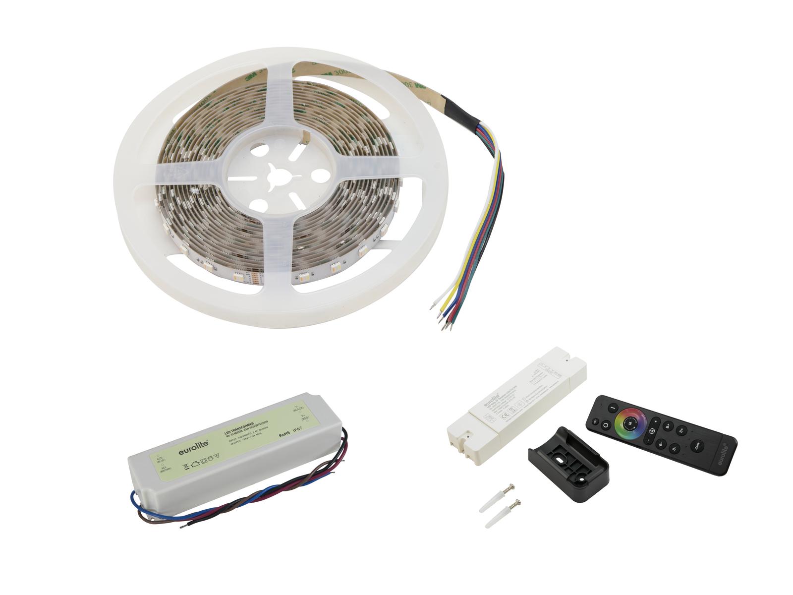 EUROLITE Set LED Strip 300 5m 5050 RGB/WW/CW + RF Controller + Trafo 24V