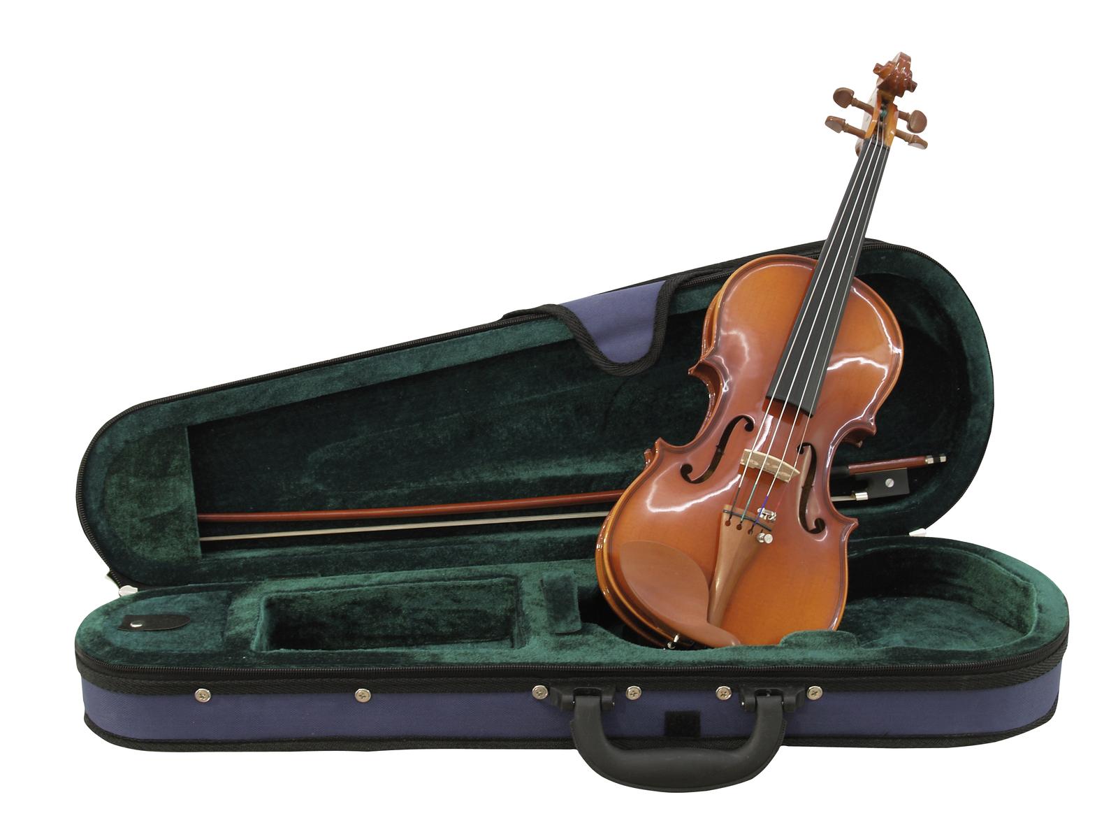 Violino misura 1/4, legno naturale, corpo acero, con custodia rigida, DIMAVERY