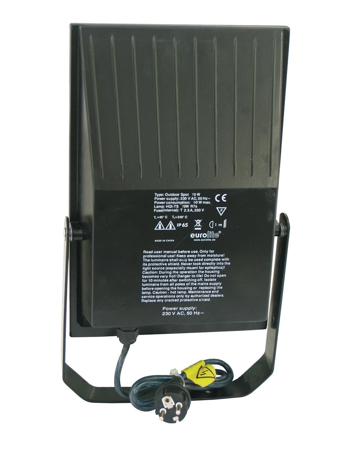EUROLITE Proiettore da esterno da 70 Watt WFL nero A