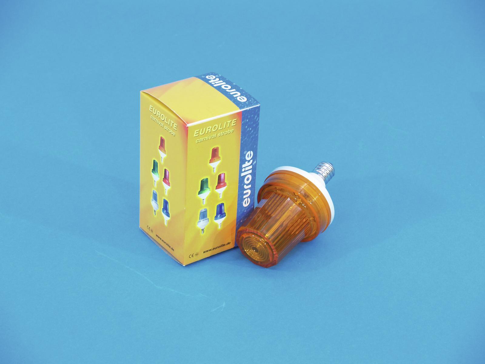 Lampada Strobo arancione,piccolo effetto strobo con base E-14, EUROLITE