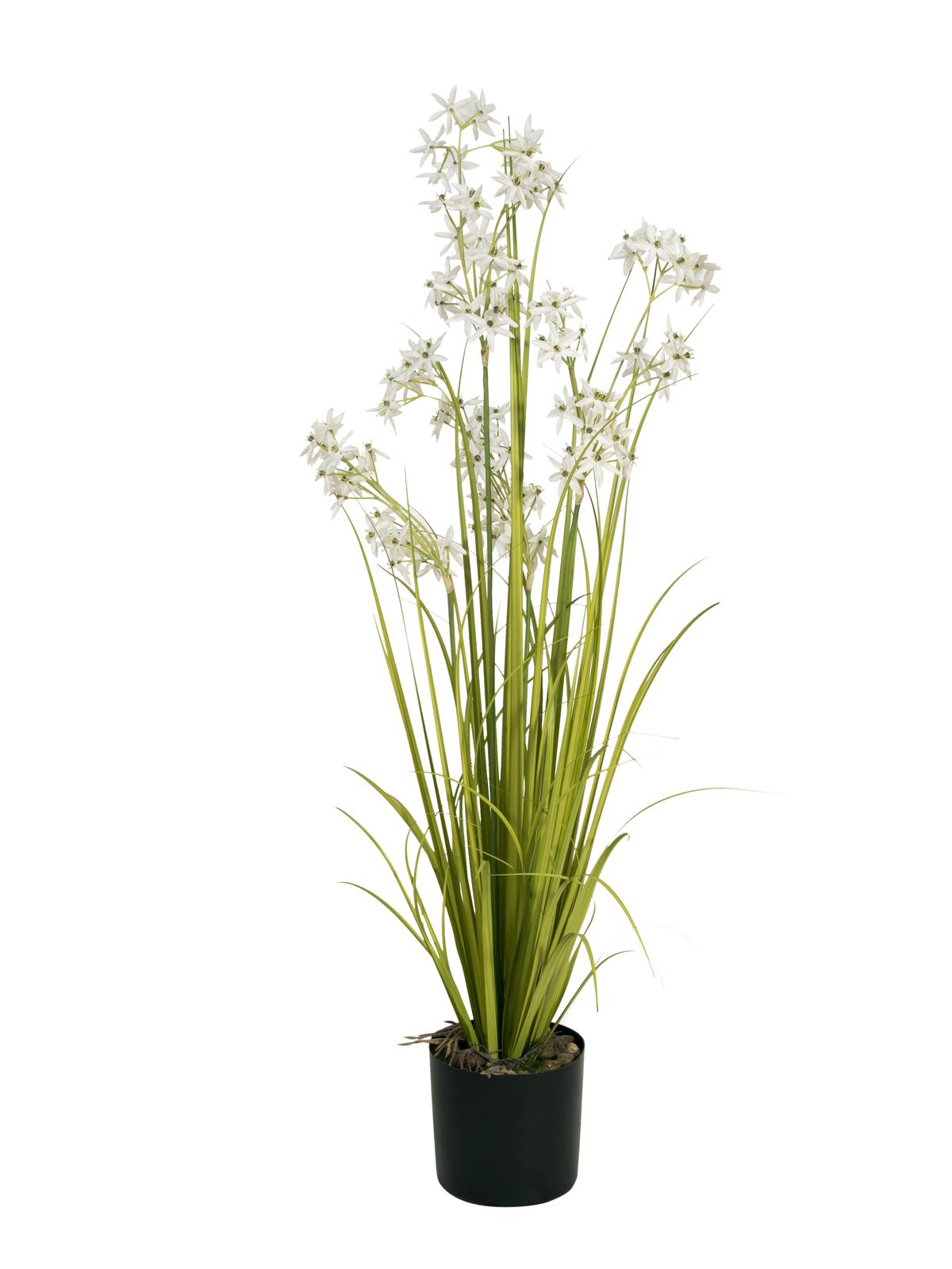 EUROPALMS Jasmingras, Kunstpflanze, weiß, 130 cm