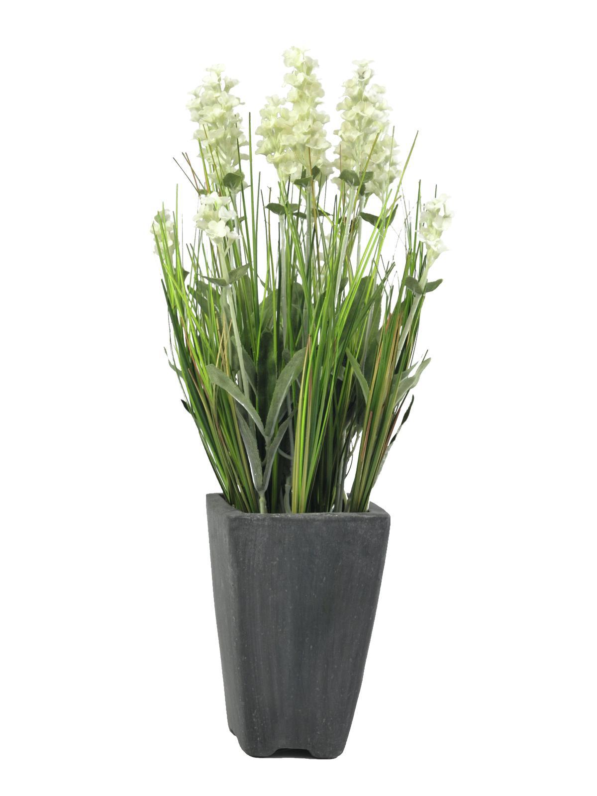 EUROPALMS Lavendel, Kunstpflanze, cremefarben, im Dekotopf, 45cm