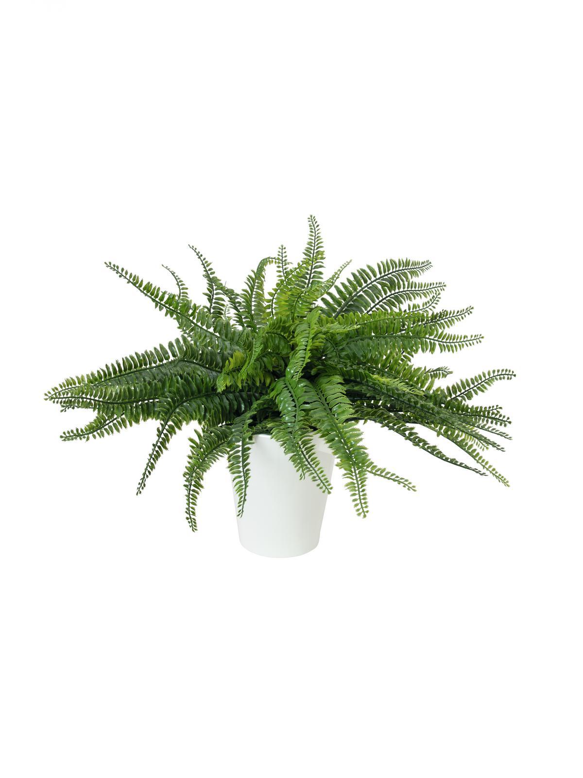 EUROPALMS Farnbusch im Dekotopf, Kunstpflanze, 62 Blätter, 48cm