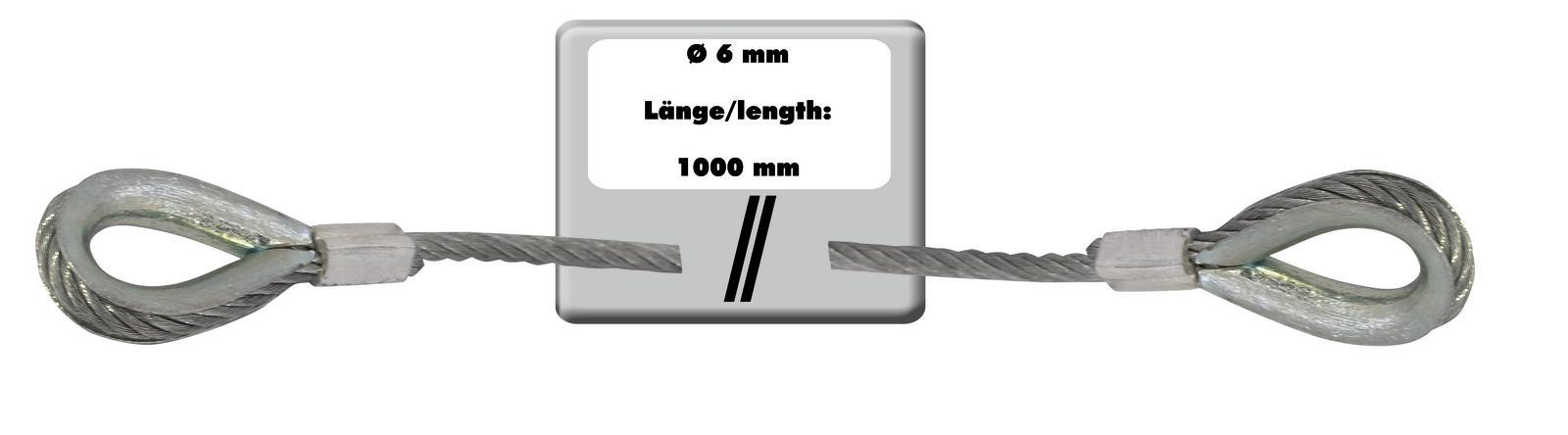 EUROLITE fune di Acciaio 1000x6mm argento con ditale