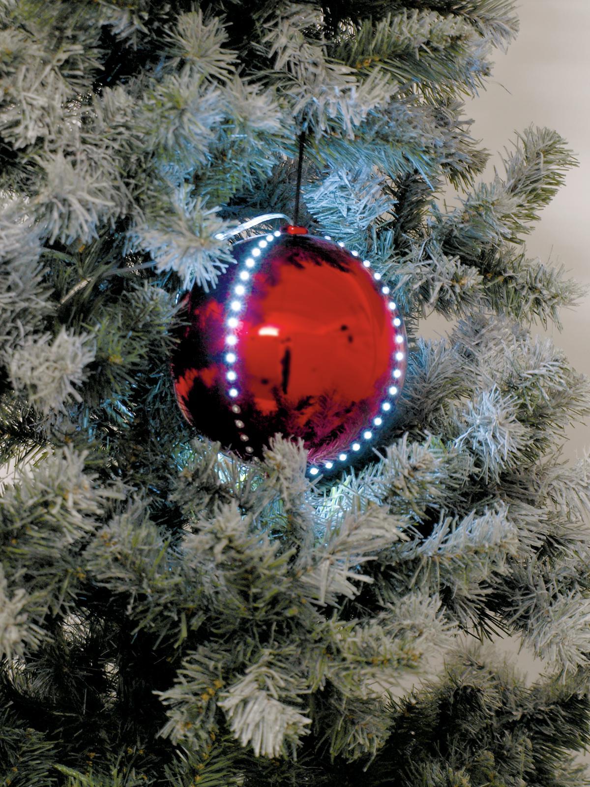 EUROPALMS LED palla di neve 8cm, colore rosso 5x