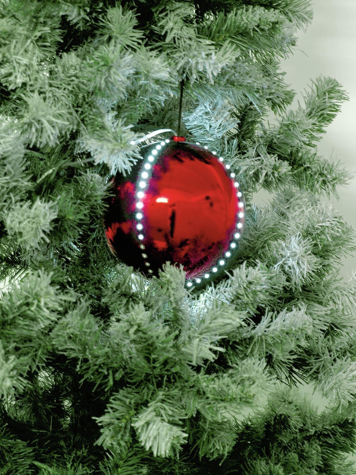 EUROPALMS LED palla di neve 15 cm, rosso