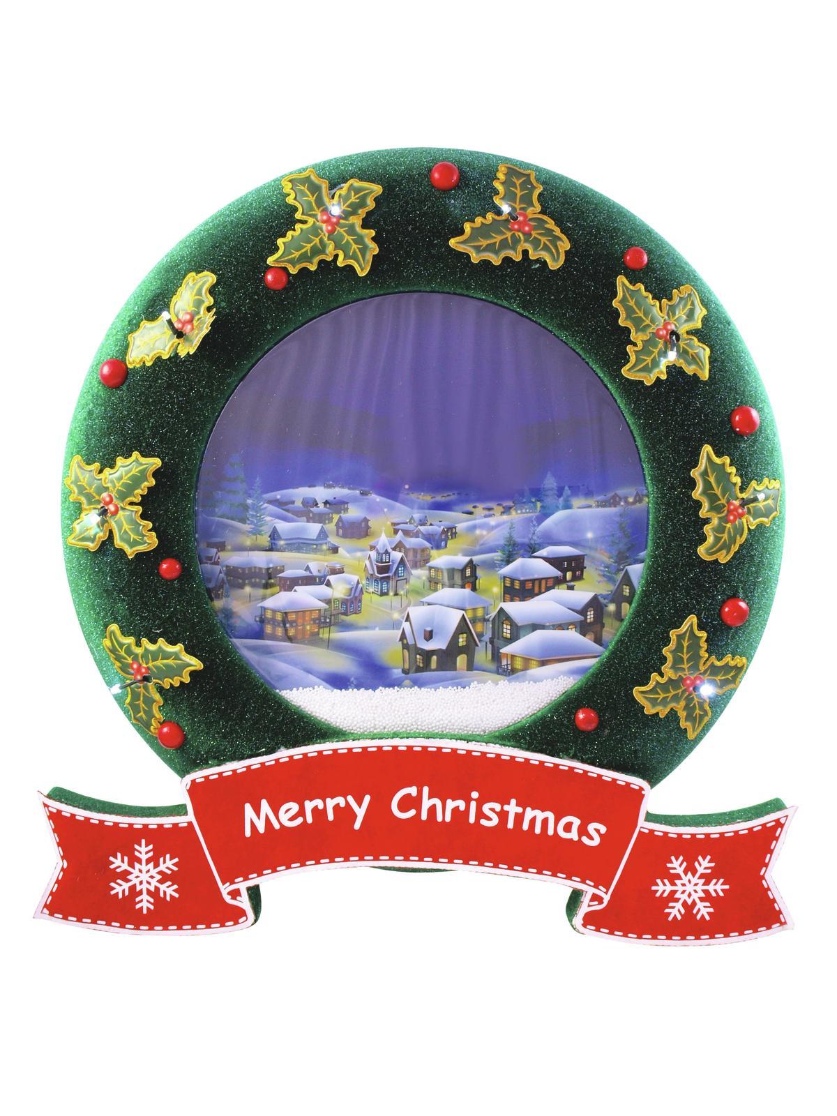 EUROPALMS Nevica ghirlanda di Natale