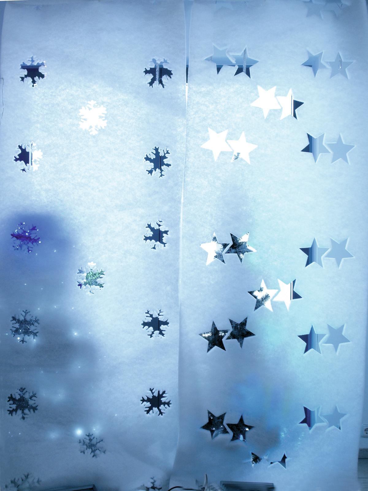 Banner panno per decorazioni addobbi natalizi fiocchi di neve 100 x 350cm