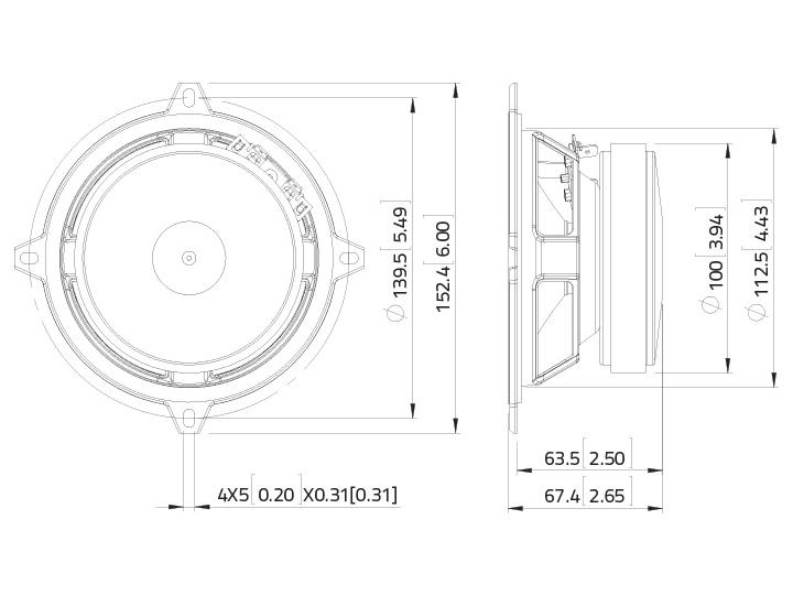 LAVOCE MSF051.22 5 Mid-Woofer, Ferrit, Stahlkorb