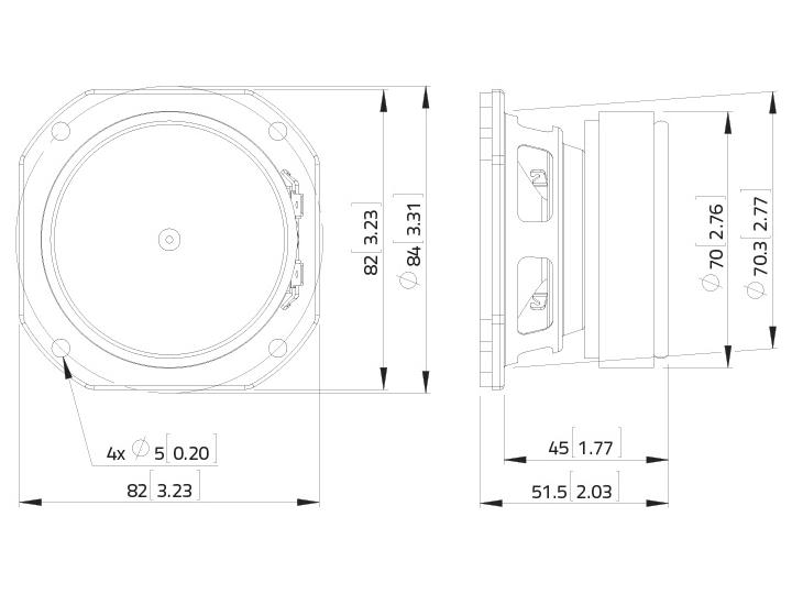 LAVOCE FSF030.70 3 Breitbandlautsprecher, Ferrit, Stahlkorb