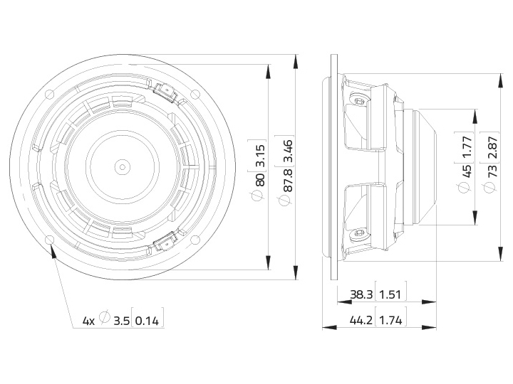 LAVOCE FSN030.71 3 Breitbandlautsprecher, Neodym, Stahlkorb