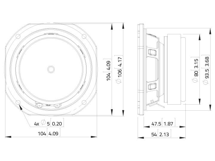 LAVOCE FSF041.00 4 Breitbandlautsprecher, Ferrit, Stahlkorb