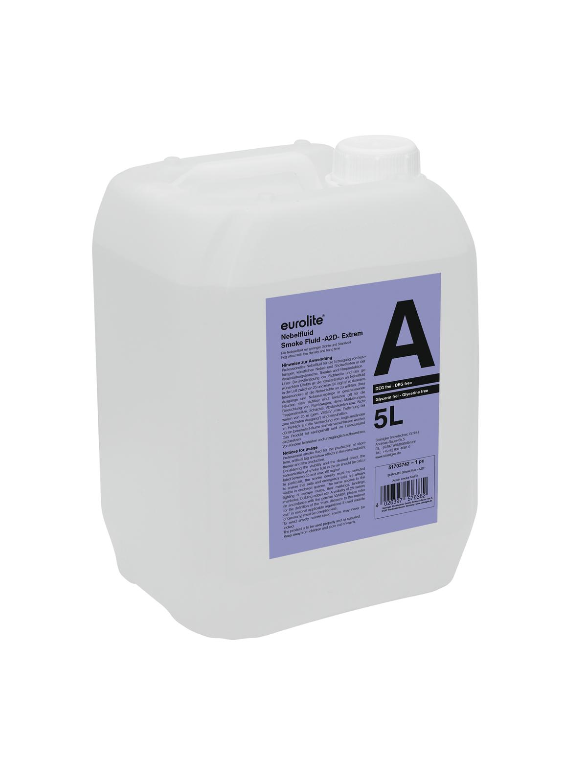 Liquido Tanica per macchina del fumo nebbia A2D standard 5 litri EUROLITE