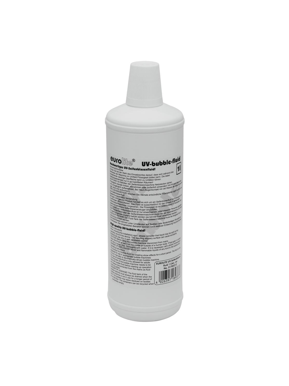 Liquido per macchina bolle di sapone 1l rosso UV EUROLITE
