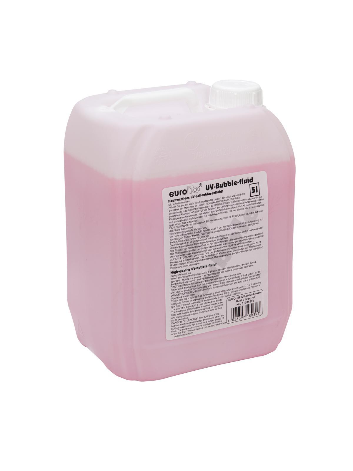 Liquido Tanica per macchina delle bolle 5 litri, rosso EUROLITE UV