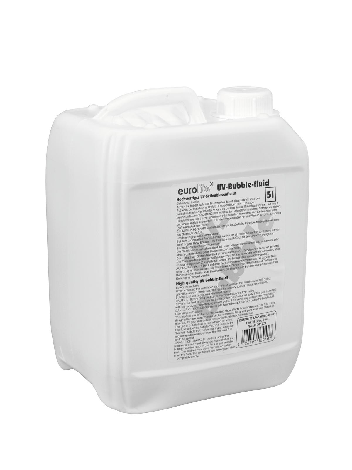 Liquido per macchina delle bolle di sapone, 5 litri, blu, EUROLITE UV