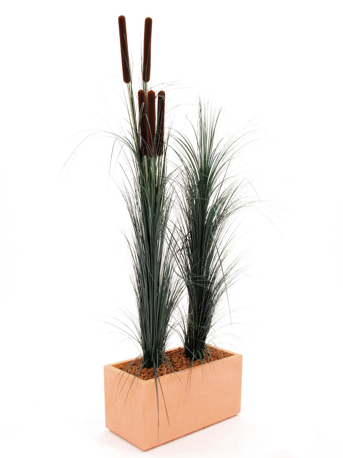 EUROPALMS Pianta artificiale Canna di erba con tife colore verde scuro,152 cm