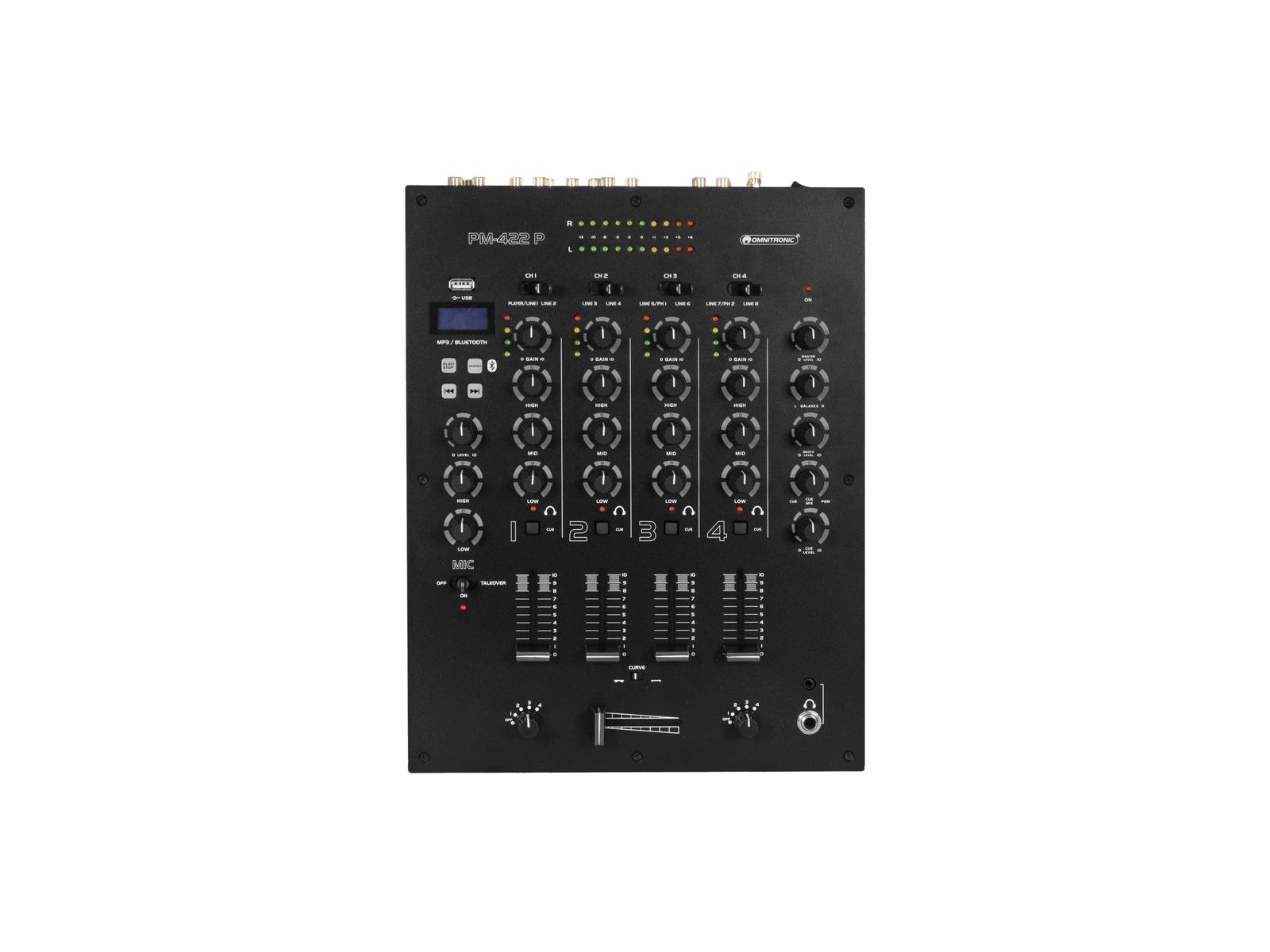 OMNITRONIC PM-422P 4-Kanal-DJ-Mixer mit Bluetooth und USB-Player