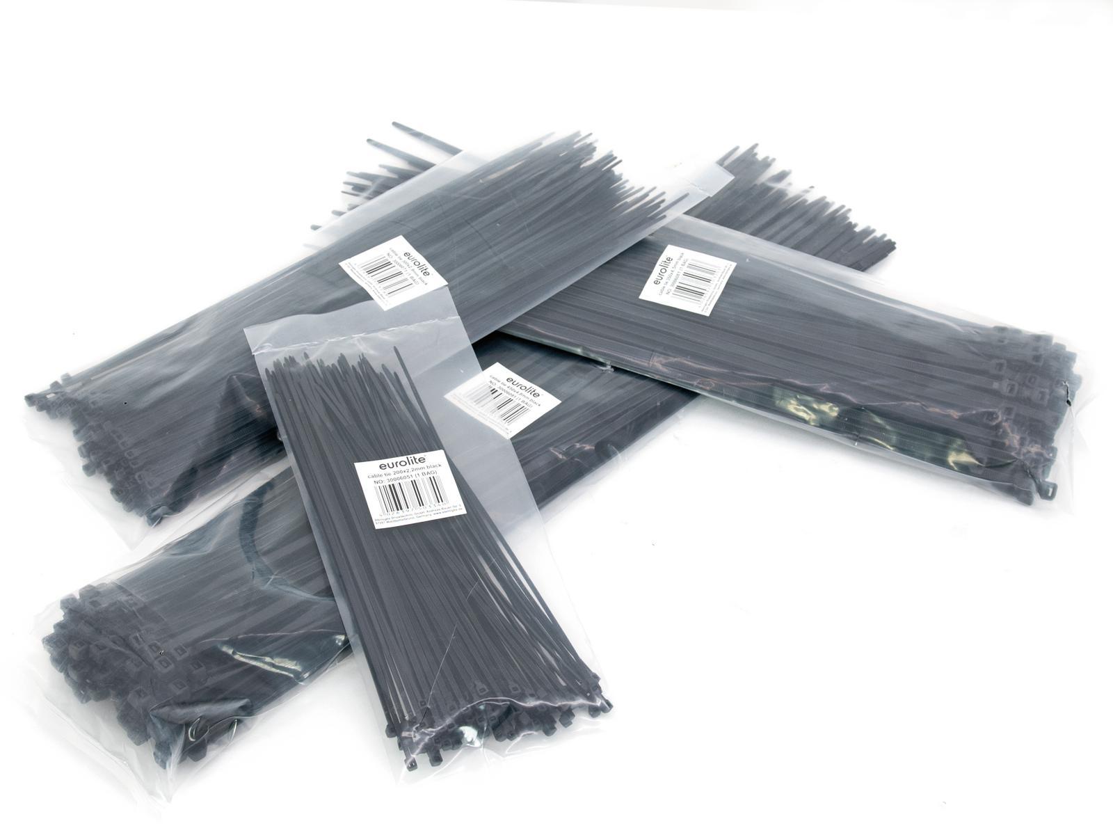EUROLITE Cavo cravatta 200x2.5mm nero 100x