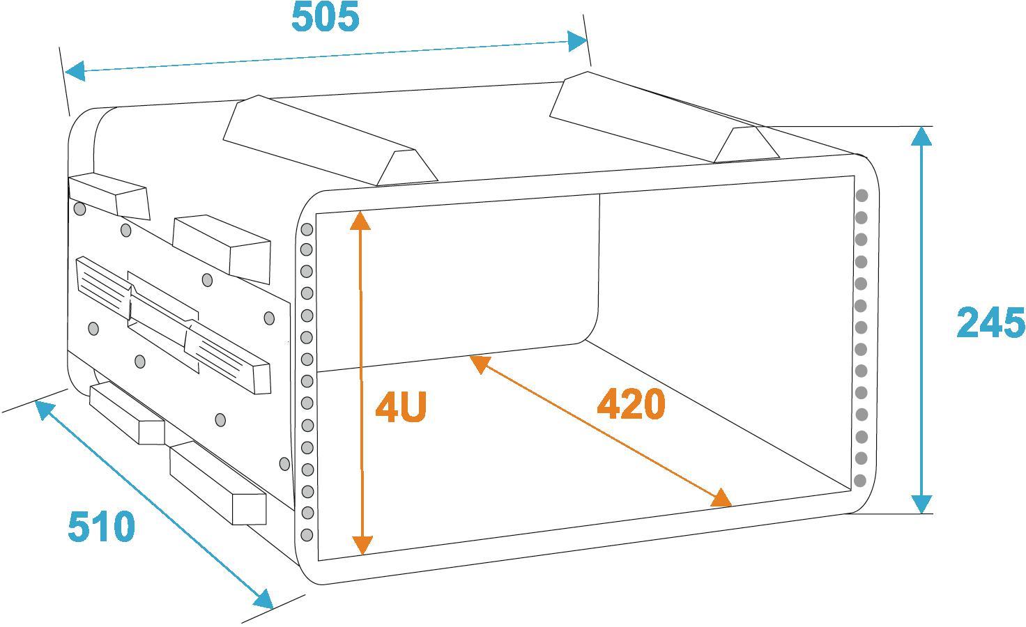 ROADINGER Plastica rack KR-19, 4U, DD, nero