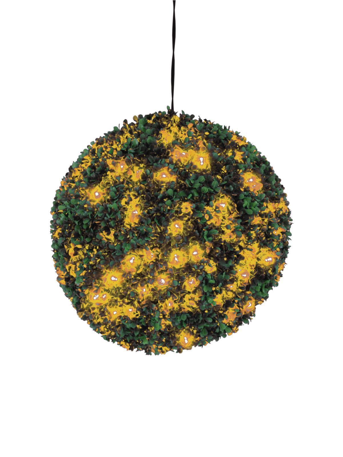 EUROPALMS Buchsbaumkugel mit orangenen LEDs,künstlich,  40cm