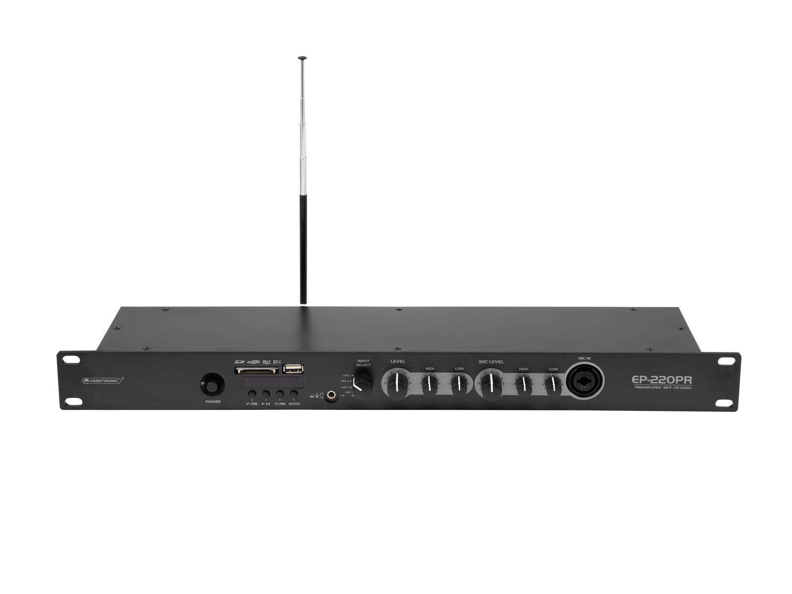 OMNITRONIC EP-220PR Preamplificatore con Lettore MP3 e Radio FM