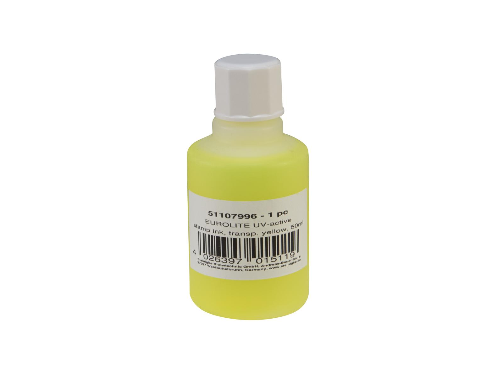 EUROLITE UV-aktive Stempelfarbe, transparent gelb, 50ml