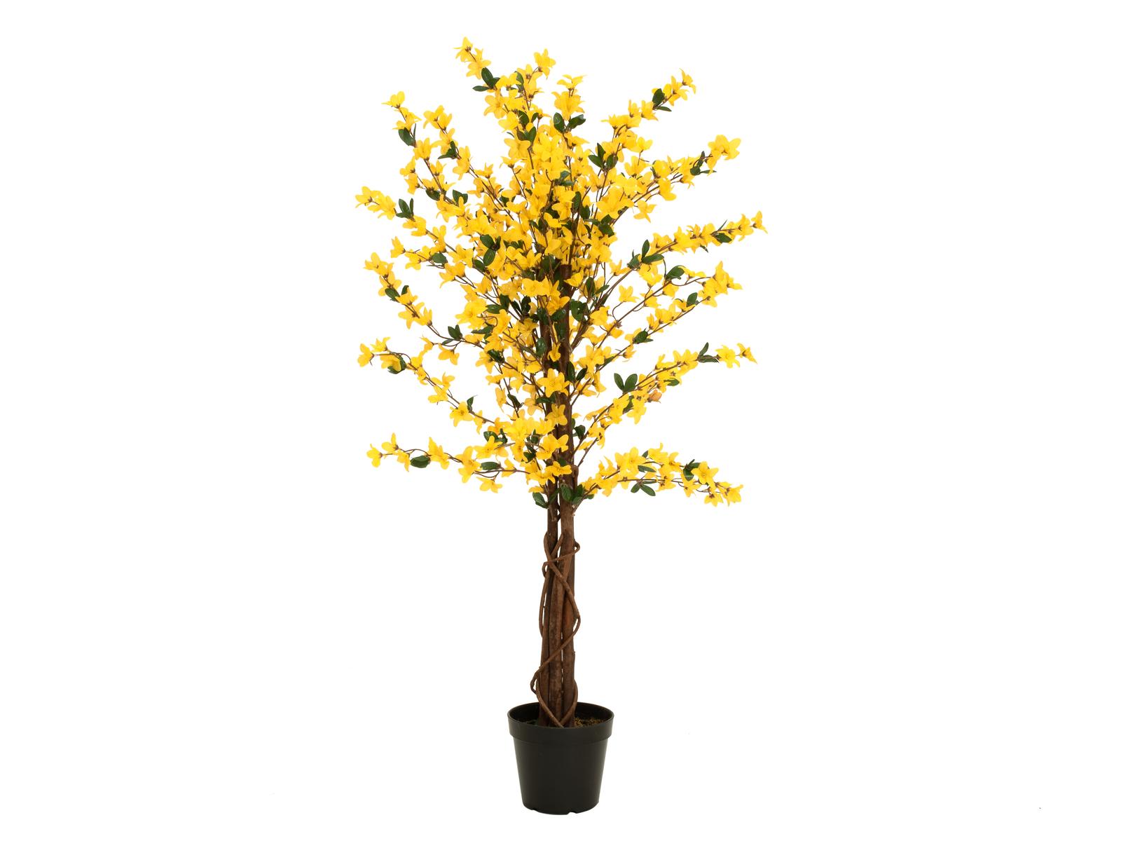 EUROPALMS Forsythienbaum mit 3 Stämmen, Kunstpflanze, gelb, 120cm