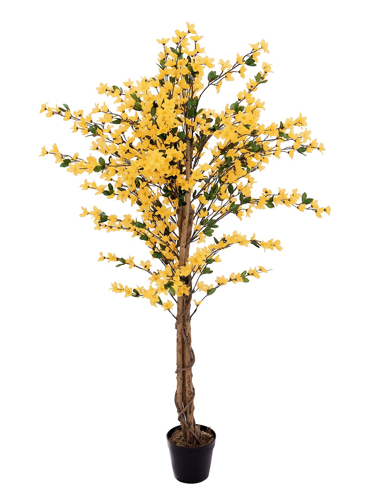 EUROPALMS Forsythienbaum mit 3 Stämmen, Kunstpflanze, gelb, 150cm