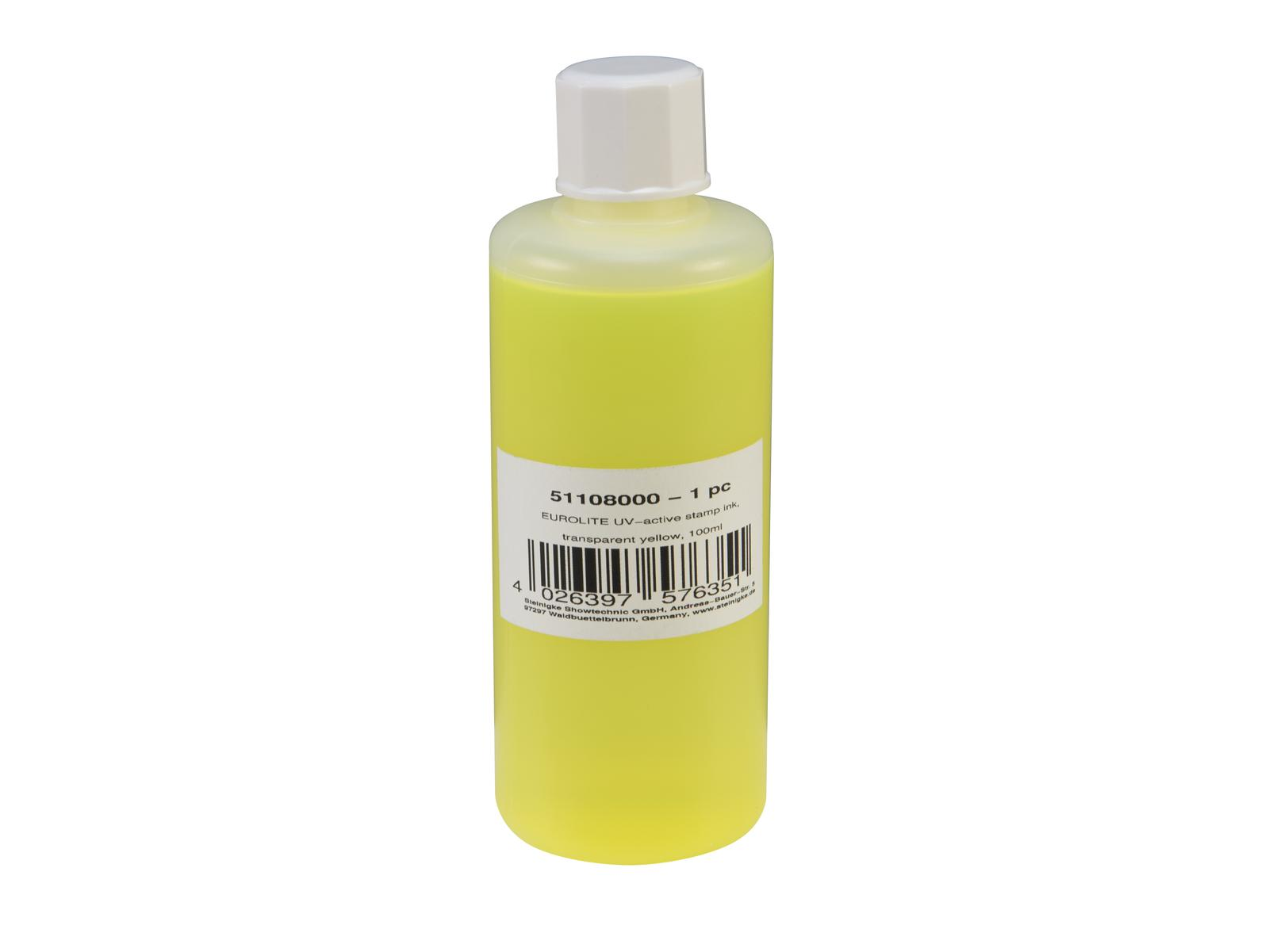 EUROLITE UV-aktive Stempelfarbe, transparent gelb, 100ml