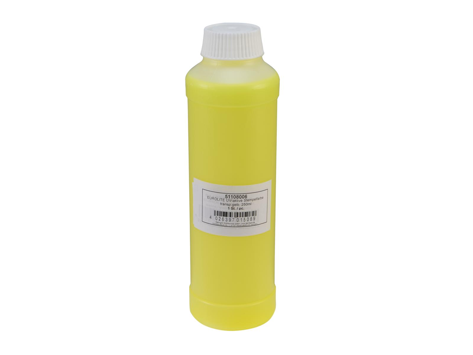 EUROLITE UV-aktive Stempelfarbe, transparent gelb, 250ml
