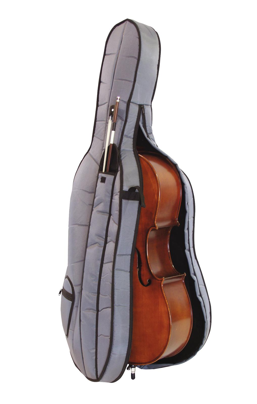 Violoncello misura 4/4, rosso marrone scuro, corpo acero, borsa morbida DIMAVERY