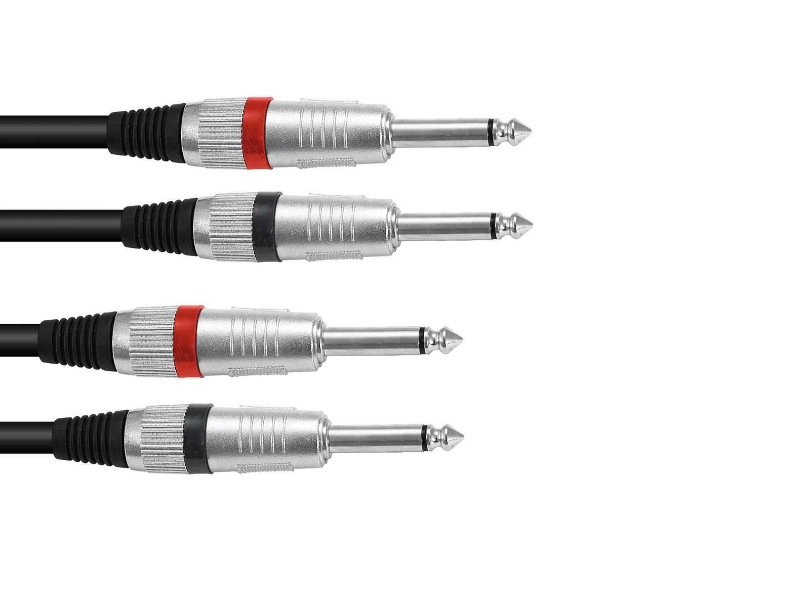 Cavo Audio 2 x 2 Jack 6.3 Maschio 1,5 Metri Omnitronic