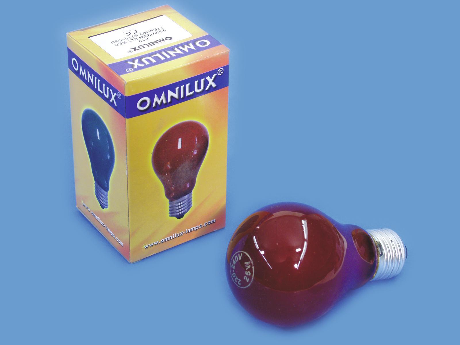 OMNILUX A19 230V/25W E-27 rot