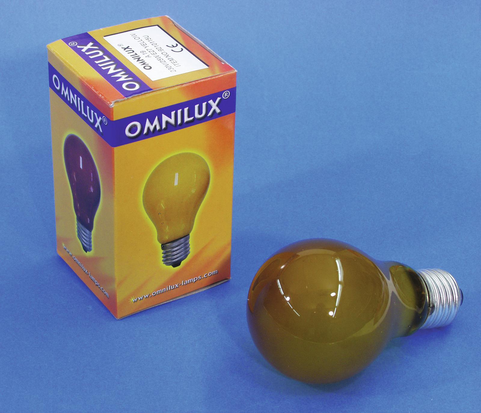 OMNILUX A19 230V 25W/E-27 giallo